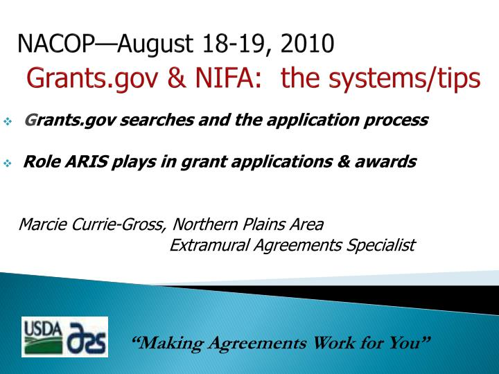 nacop august 18 19 2010 grants gov nifa the systems tips n.