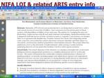 nifa loi related aris entry info