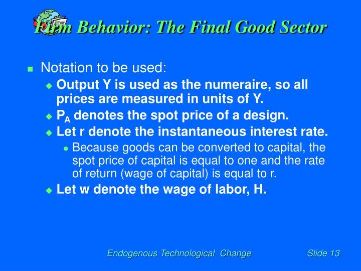 Firm Behavior: The Final Good Sector