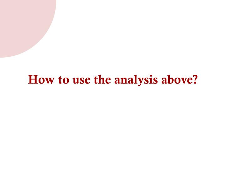 How to use the analysis above?