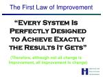 the first law of improvement