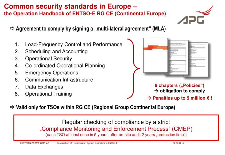 Common security standards in Europe –