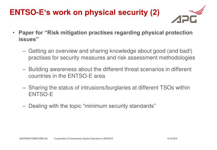 ENTSO-E's work on physical security (2)