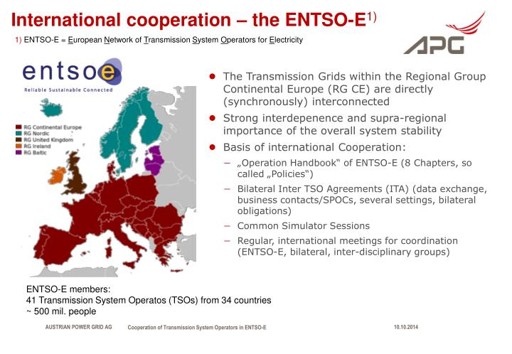 International cooperation the entso e 1