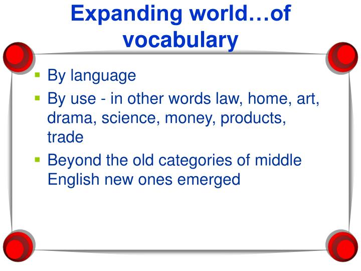 Expanding world…of vocabulary