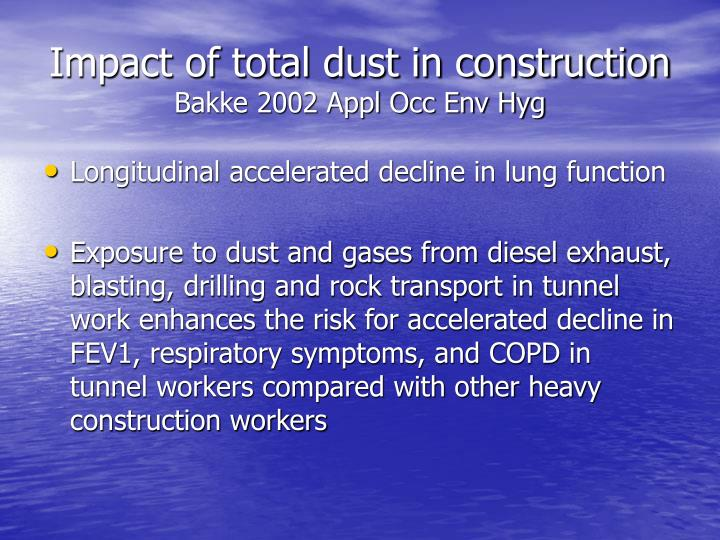 Impact of total dust in construction