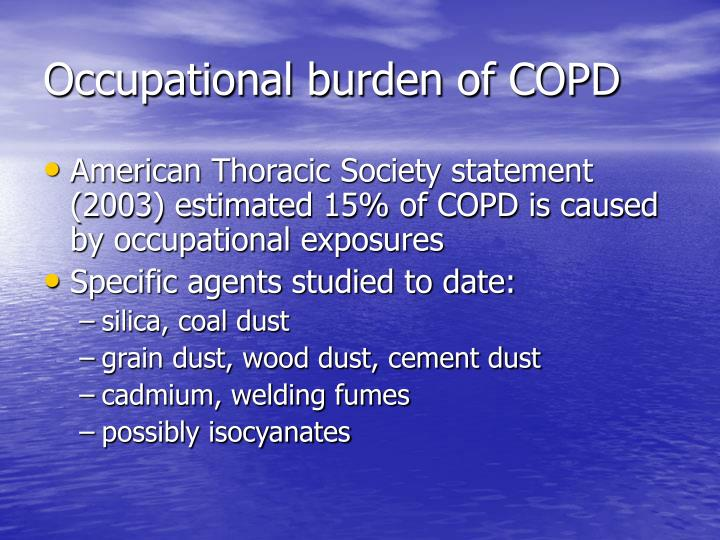 Occupational burden of copd