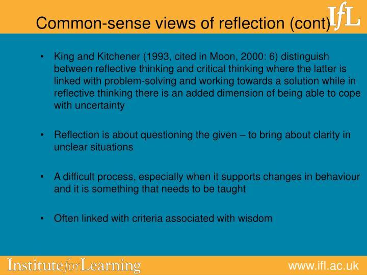 Common-sense views of reflection (cont)