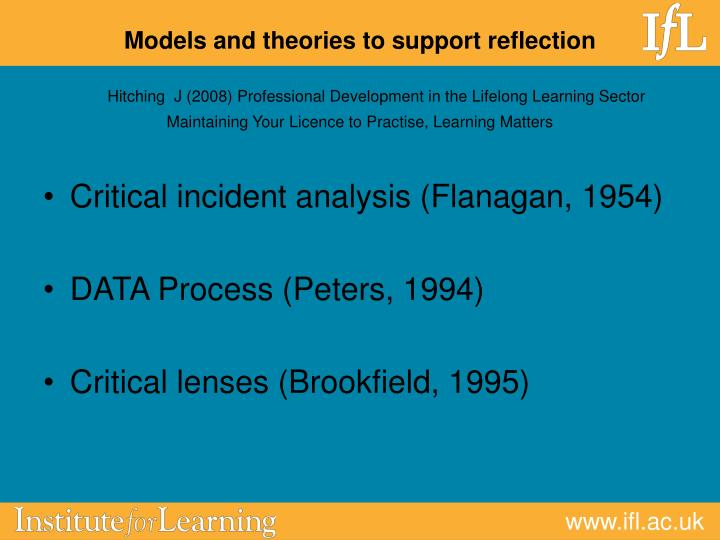 Models and theories to support reflection