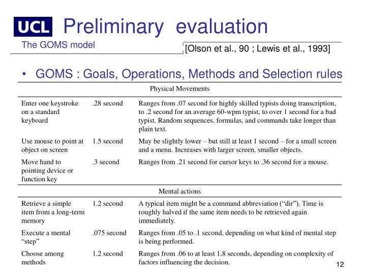 Preliminary  evaluation