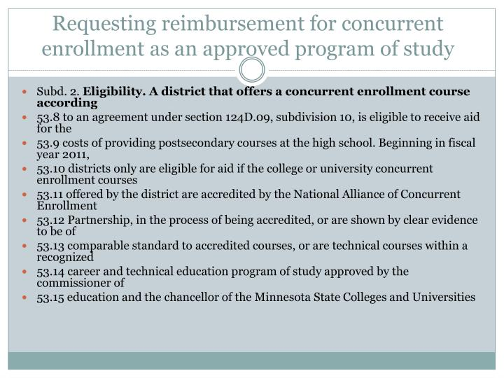 Requesting reimbursement for concurrent enrollment as an approved program of study