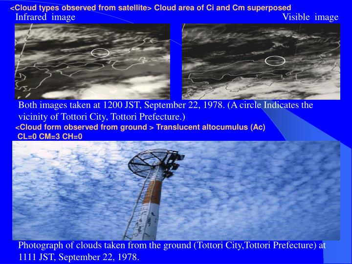 <Cloud types observed from satellite> Cloud area of Ci and Cm superposed