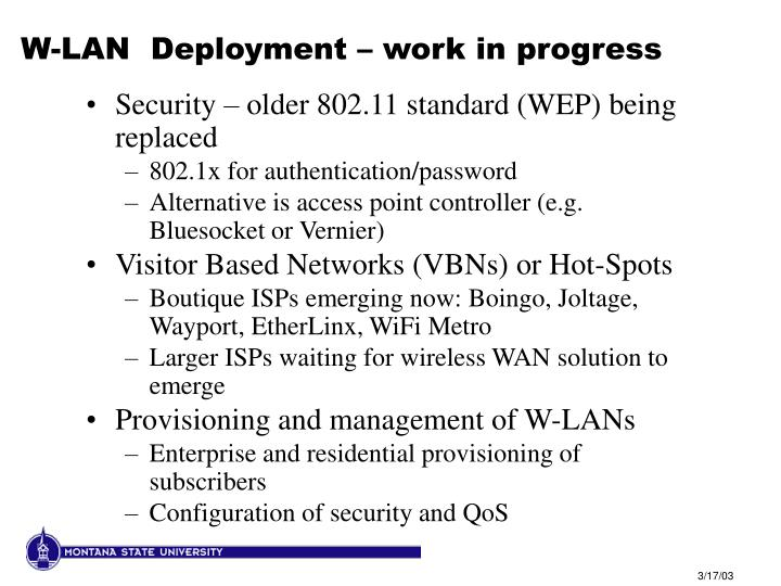 W-LAN  Deployment – work in progress