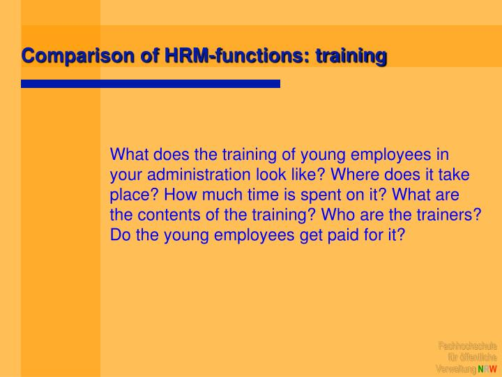 Comparison of HRM-functions: training