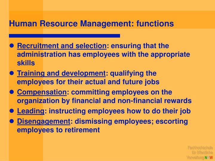 Human Resource Management: functions