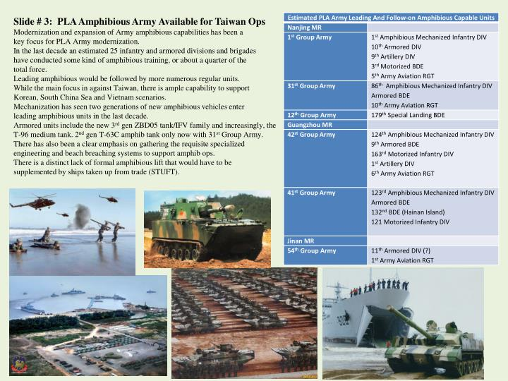 Slide # 3:  PLA Amphibious Army Available for Taiwan Ops