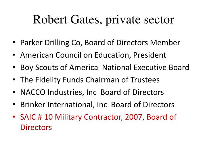 Robert Gates, private sector