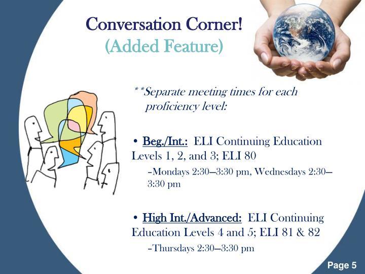 Conversation Corner!