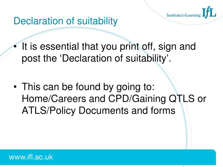 Declaration of suitability