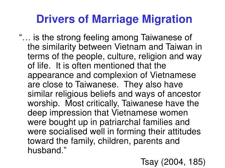 Drivers of Marriage Migration