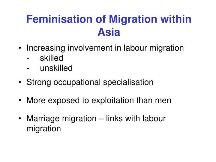 Feminisation of migration within asia