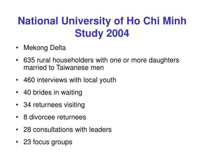 National University of Ho Chi Minh Study 2004