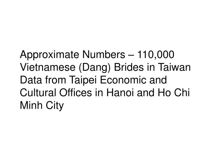 Approximate Numbers – 110,000 Vietnamese (Dang) Brides in Taiwan