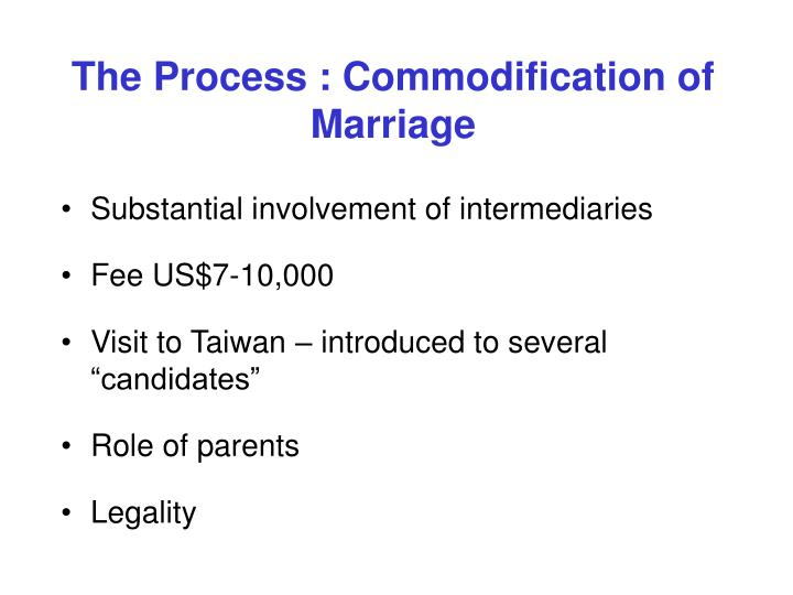 The Process : Commodification of Marriage