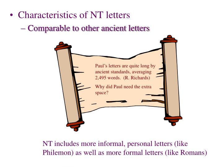 Characteristics of NT letters