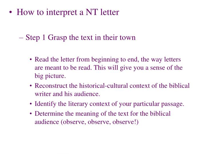 How to interpret a NT letter