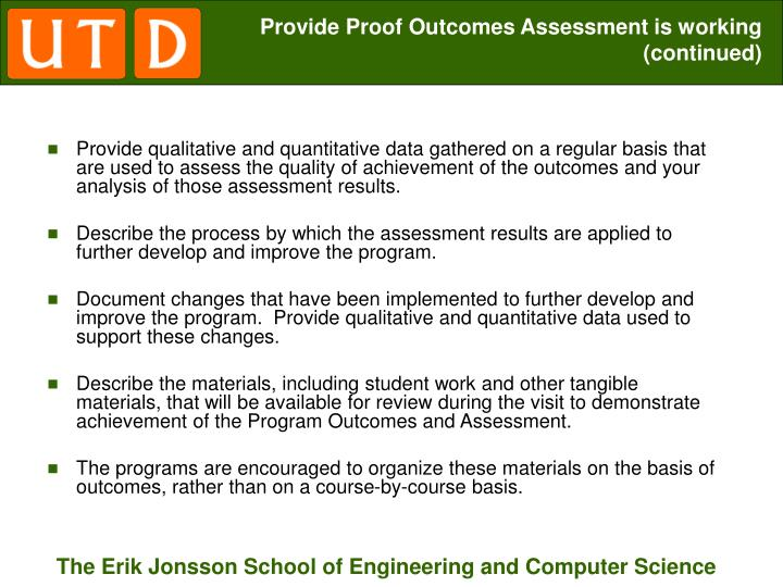 Provide Proof Outcomes Assessment is working