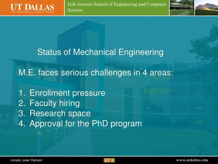 Status of Mechanical Engineering