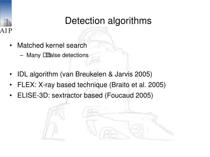 Detection algorithms