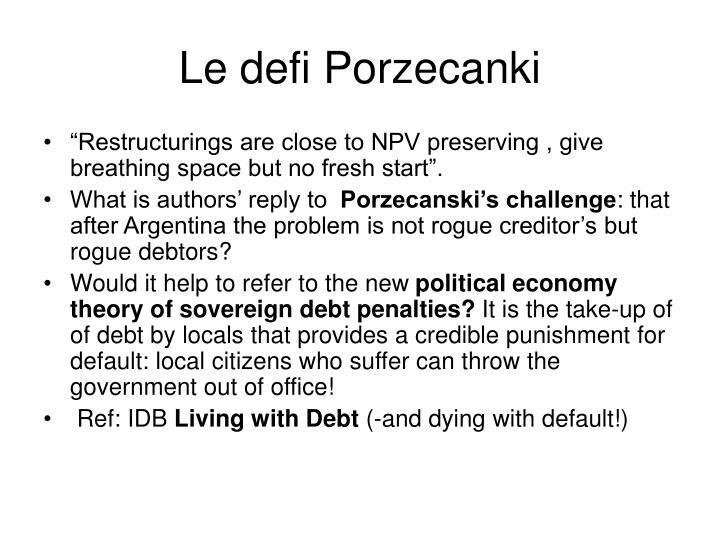 Le defi Porzecanki