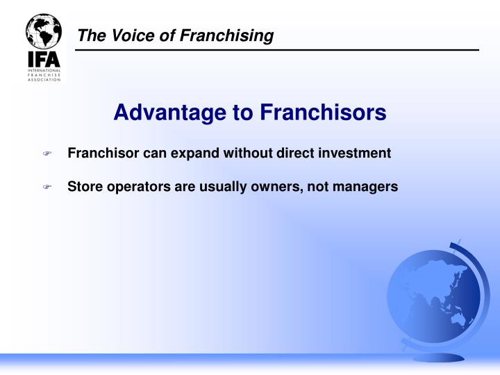 Franchisor can expand without direct investment