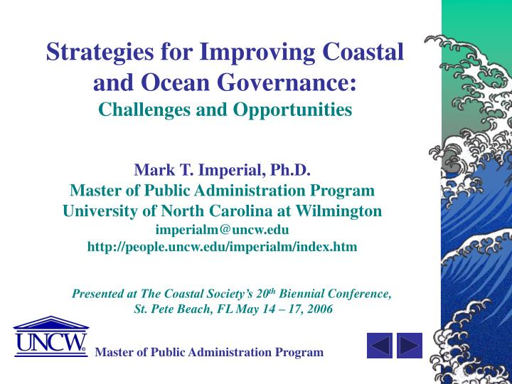 Strategies for improving coastal and ocean governance challenges and opportunities