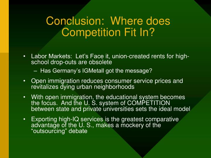 Conclusion:  Where does Competition Fit In?