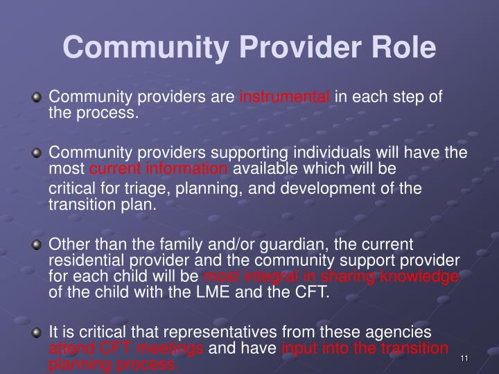 Community Provider Role