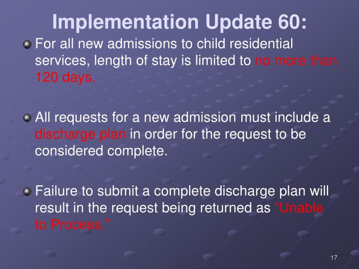 Implementation Update 60: