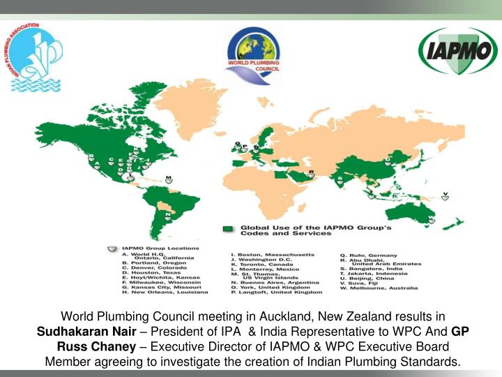 World Plumbing Council meeting in Auckland, New Zealand results in
