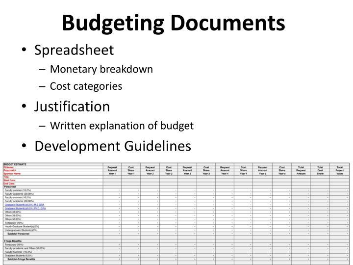 Budgeting Documents