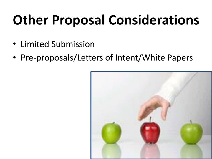 Other Proposal Considerations