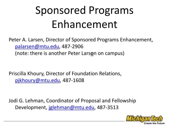 Sponsored Programs Enhancement