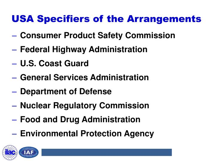 USA Specifiers of the Arrangements