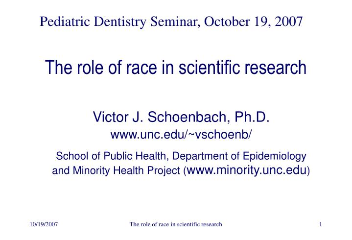 the role of race in scientific research n.