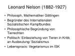 leonard nelson 1882 1927