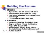 building the resume4