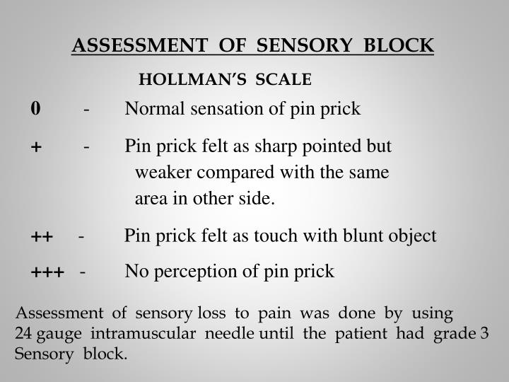 ASSESSMENT  OF  SENSORY  BLOCK