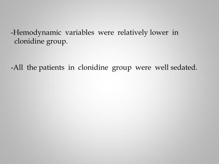Hemodynamic  variables  were  relatively lower  in