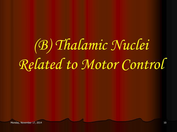 (B) Thalamic Nuclei Related to Motor Control